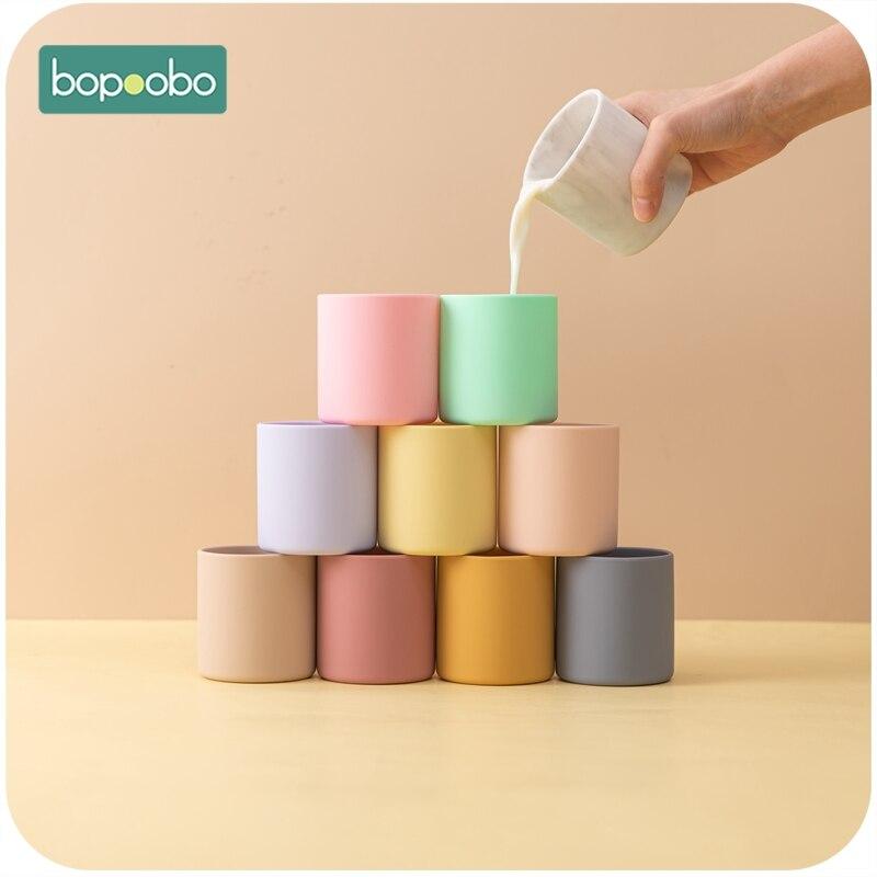 1 шт. BPA бесплатная Детская кружка для воды, детская чашка для обучения питью, силиконовая цветная портативная силиконовая чашка для детей