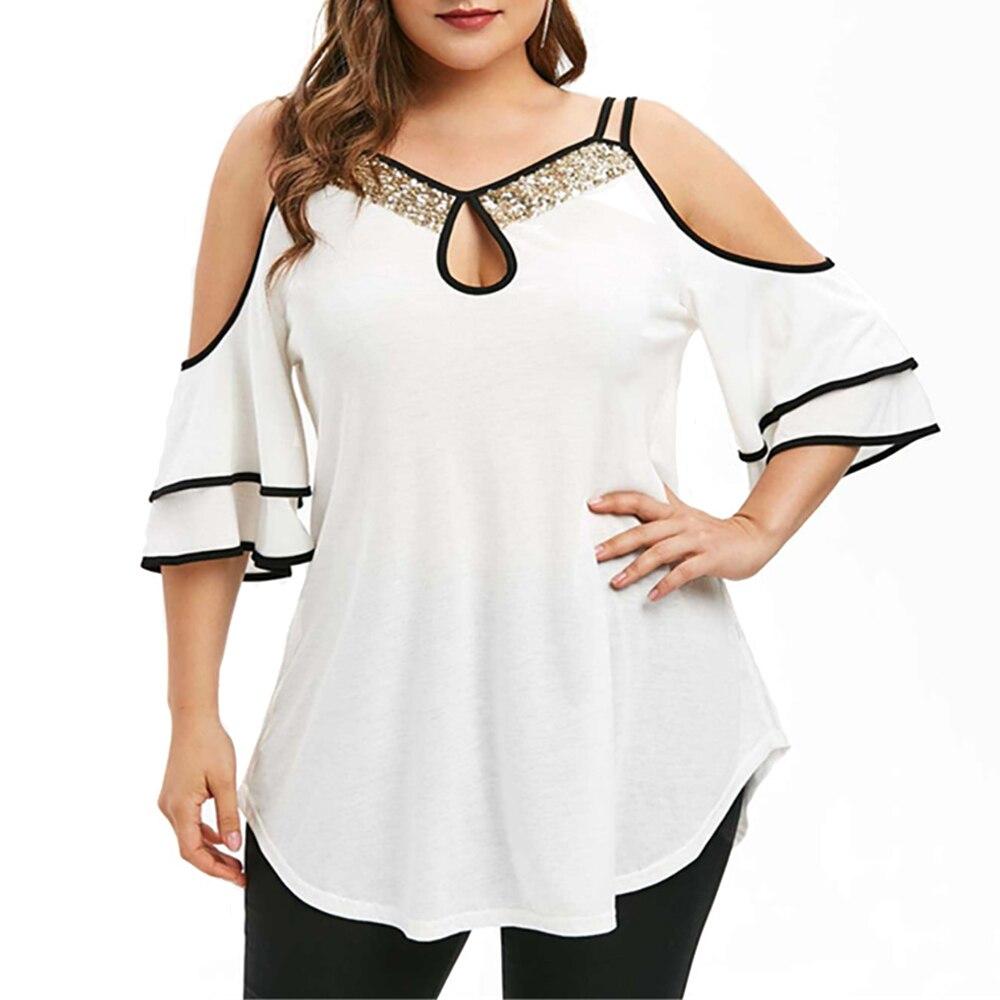 Camiseta de talla grande 4XL para mujer, Tops Vintage para mujer, Camiseta calada de línea de empalme, camiseta de estilo coreano de moda, ropa de calle de verano D30