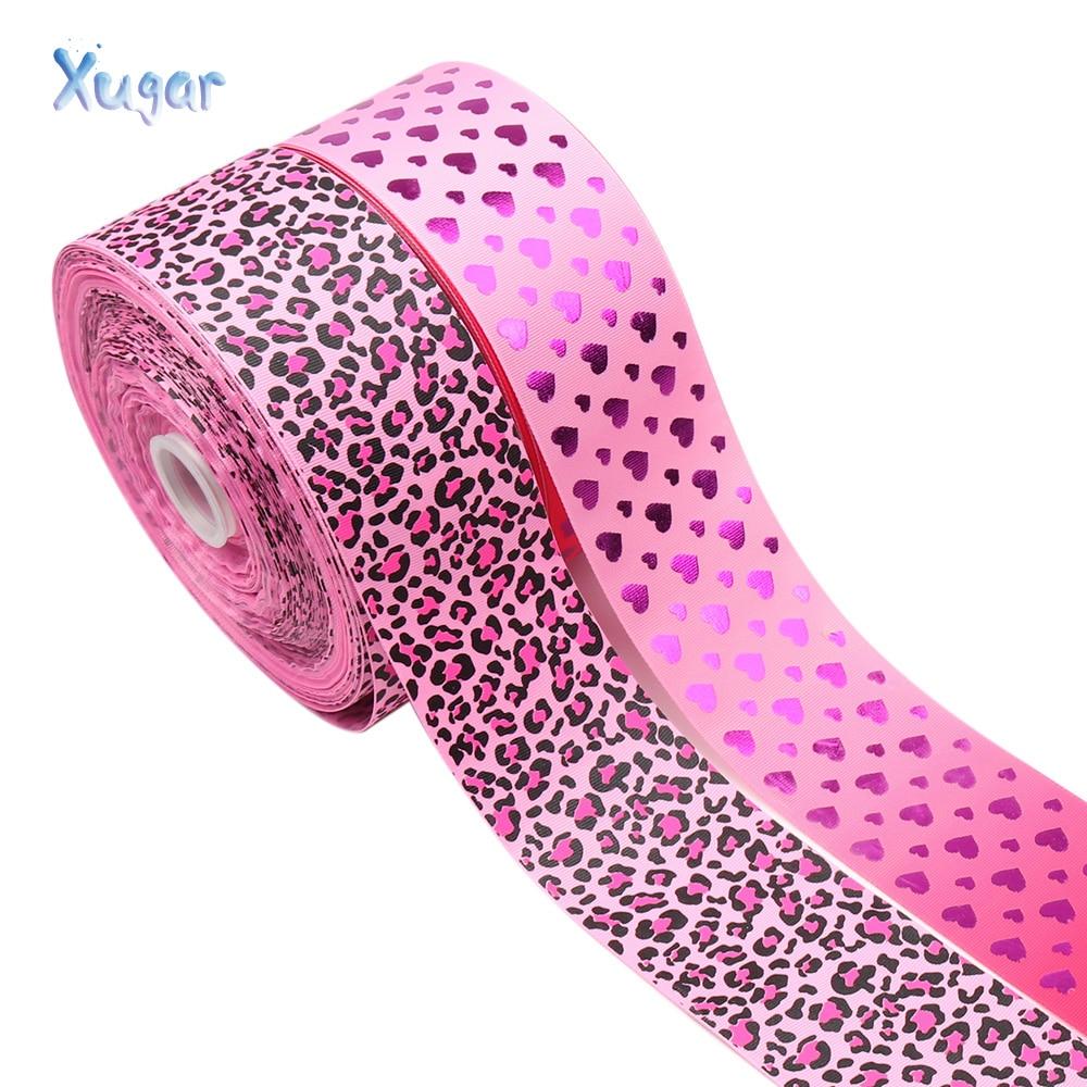 """Xugar 3 """"75mm leopardo impreso cinta Rosa hoja corazón DIY Hairbows accesorios hechos a mano materiales cinta para envolver regalos 2 yardas/lote"""