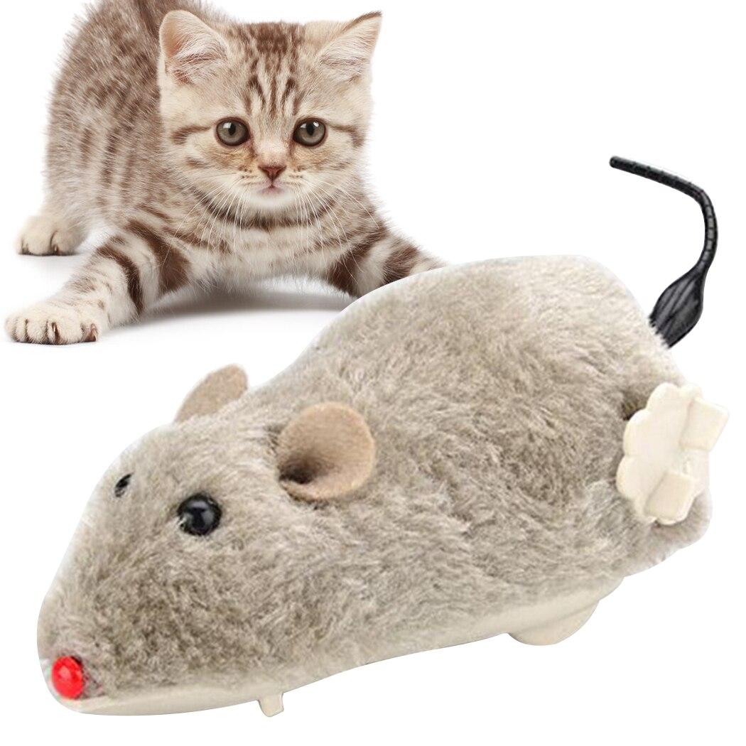 1 Uds. Ratón juguete creativo simulación ratón viento up felpa divertido gato jugar juguete interactivo para mascotas Mini juguetes para gatos