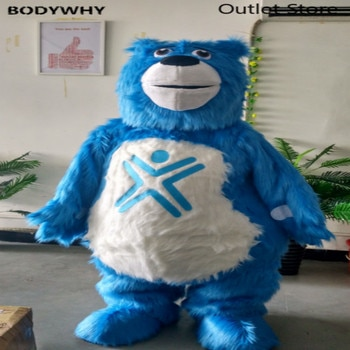 Blue Long Fur Bear Mascot Costume Cosplay Outfit Fursuit Halloween Furry Suits Party Game Dress Carnival Xmas Easter Ad Clothes