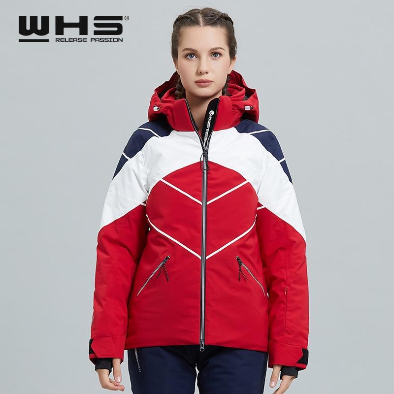 WHS Women Lady Windproof Waterproof Outdoor Single Board Double Board Ski Suit Women's White Fashion Warm Top Coat Jacket New