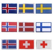Veste en jean à rayures 8*5CM   patch brodé en 3D, islande, suède, danemark, finlande, drapeau suisse, bricolage