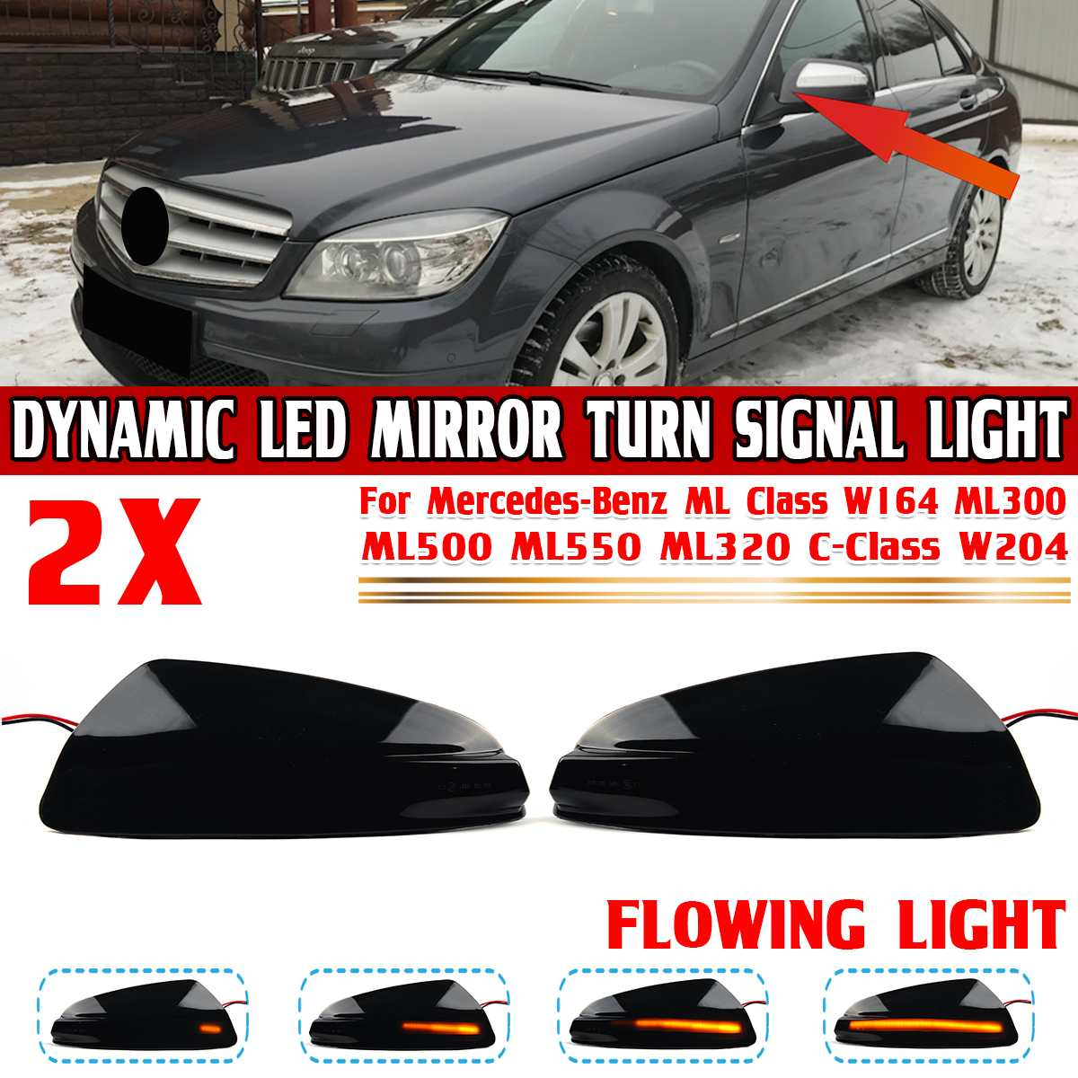 2 uds llevó luz indicadora de señal de giro lado espejo luces...