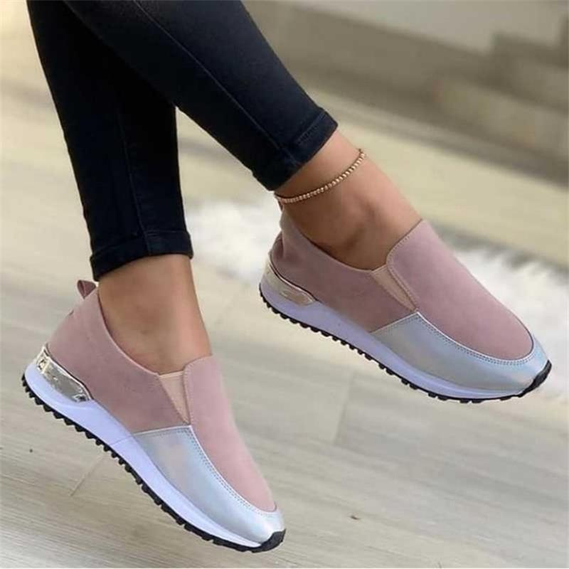 2021 New Women's Shoes Fashion Youth Daily All-match Color Matching Stitching Flat-heeled Platform C