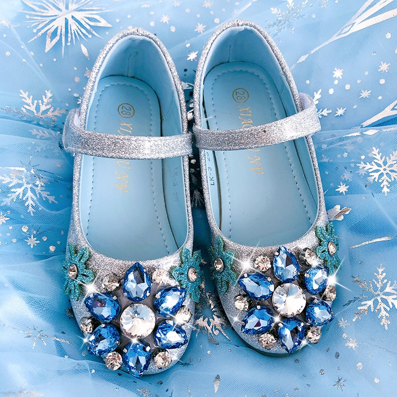 Girl's shoes Princess Elsa shoes crystal children's fashion show shoes birthday shoes blue Halloween  Party Rhinestone shoes