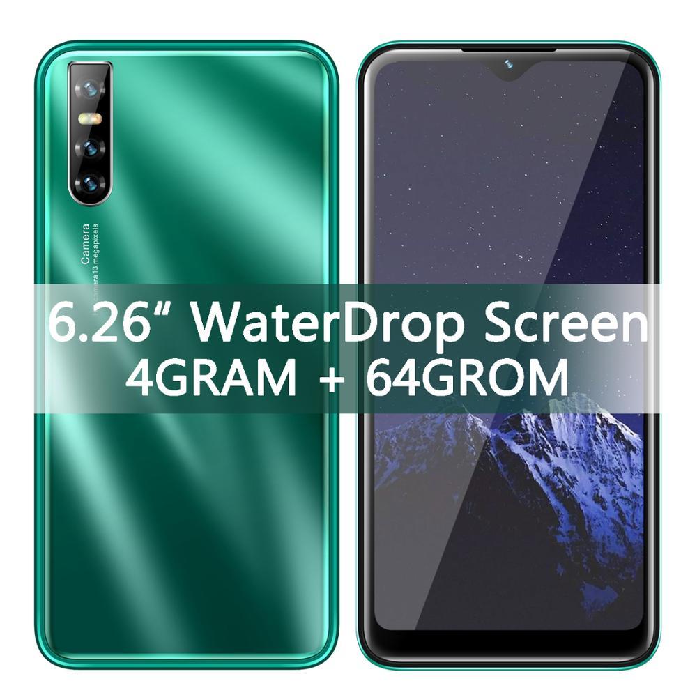الوجه ID 6.26 بوصة قطرة الماء شاشة الهواتف المحمولة F1 4 جرام 64GROM رباعية النواة الهواتف الذكية 13.0MP Celulars أندرويد MTK هاتف محمول