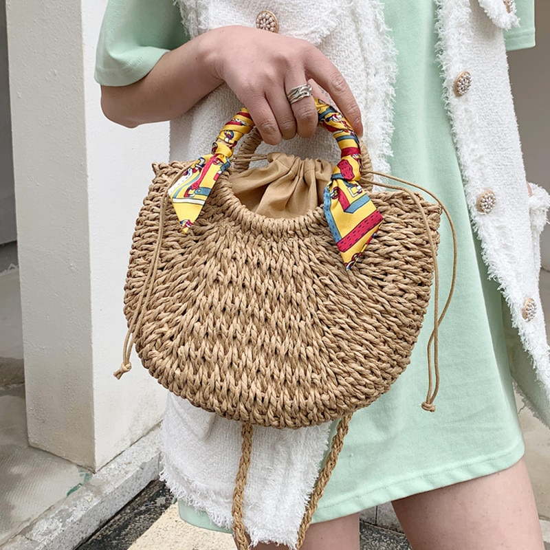 Handmade Bags for Women Summer Straw Shoulder Handbag Drawstring Weave Basket Clutch Crossbody Bag Female Beach Rattan Tote Bags
