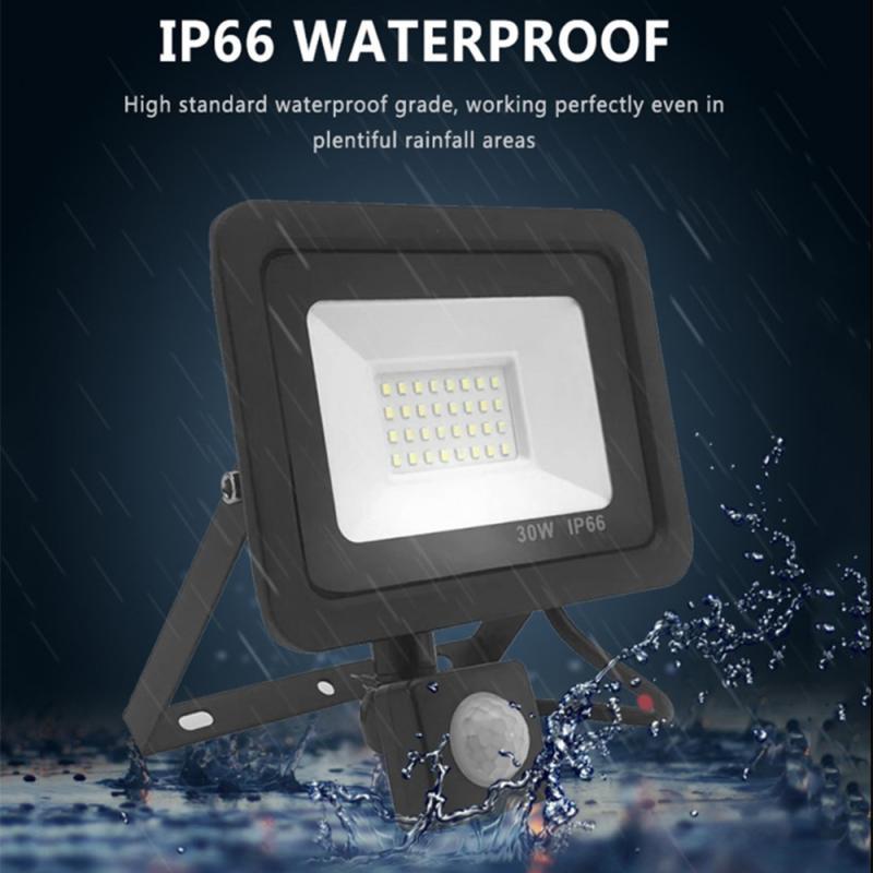أضواء خارجية لحديقة الشارع إضاءة مقاومة للماء الأضواء 2 قطعة مع كاشف حركة في الهواء الطلق LED 30 واط الأضواء HWC