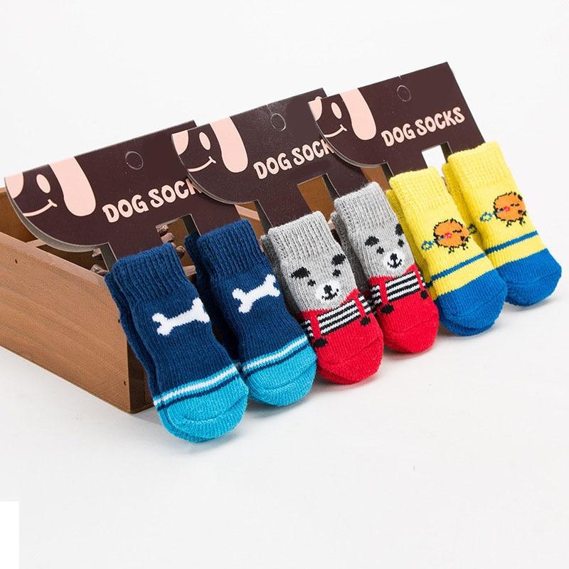 4 шт. Тепле взуття для цуценят для собак, м'які в'язані шкарпетки для домашніх тварин, милі мультфільми протиковзні шкарпетки для маленьких собак, товари для домашніх тварин розмір S / M / L