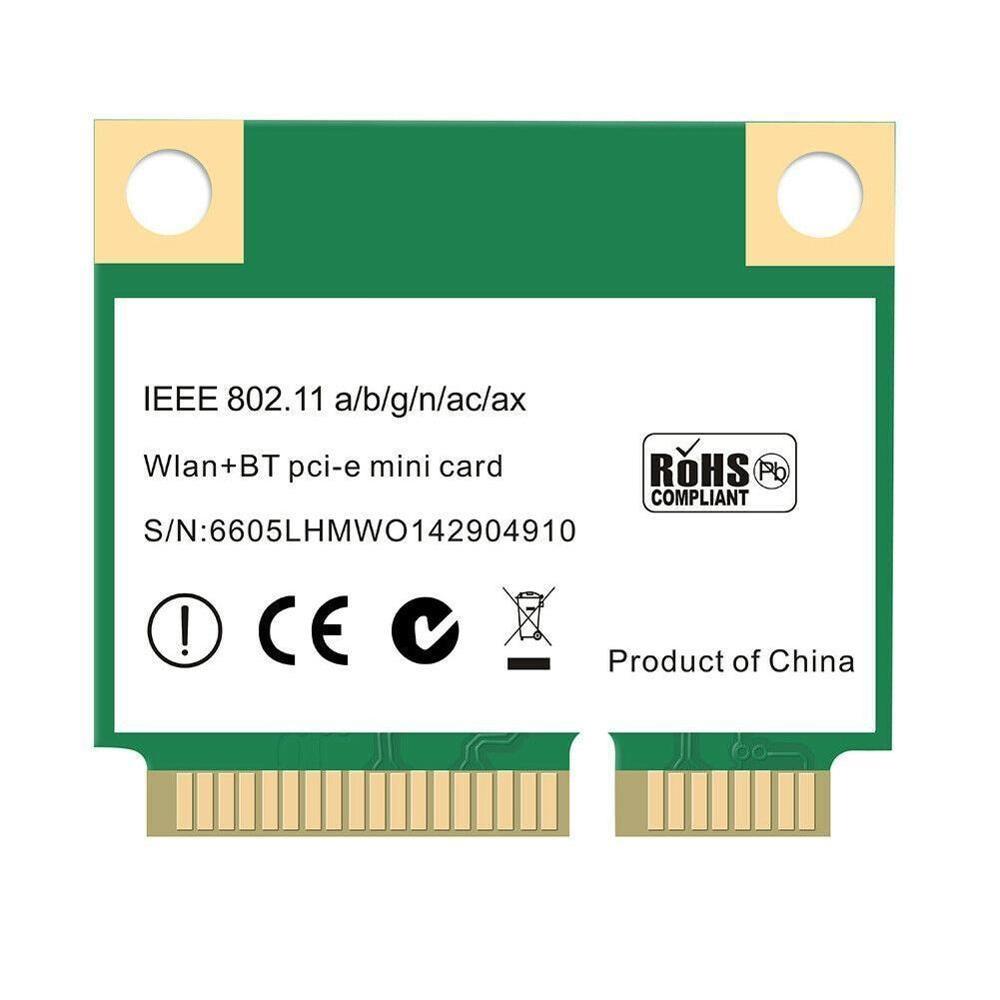 Dupla sem Fio Wifi Banda Meia Mini Rede Pci-e Wlan Cartão Bluetooth 5.0 802.11axac 2.4ghz5ghz Adaptador Mu-m 3000mbps 6