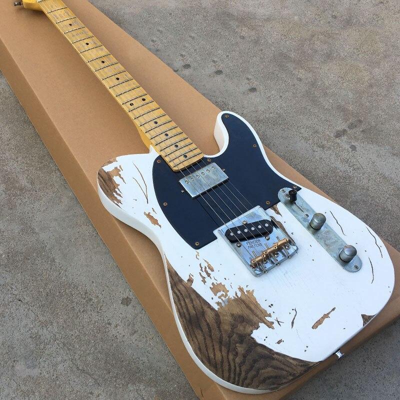 Guitarra eléctrica de alta calidad, estilo TL, cuerpo de aliso con cuello de Arce, guitarra eléctrica personalizada, envío gratis