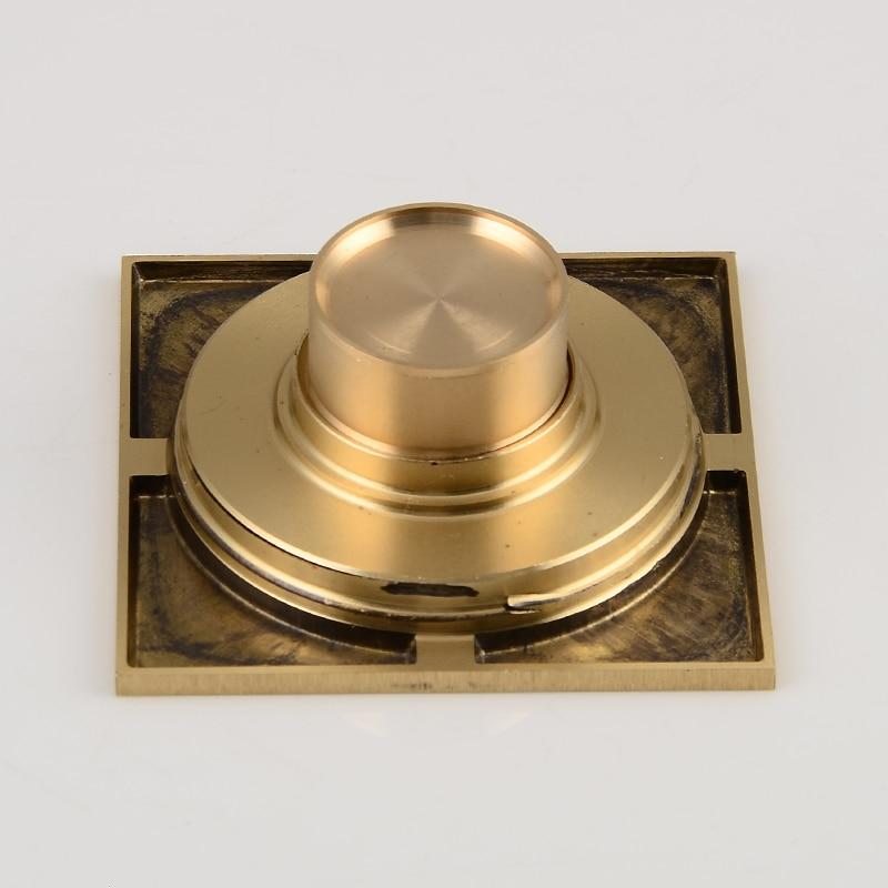 Купить с кэшбэком Bathroom Brass Floor Drain Gold Square Shower Floor Drains Linear Covers Sink Linear Floor Waste Grates