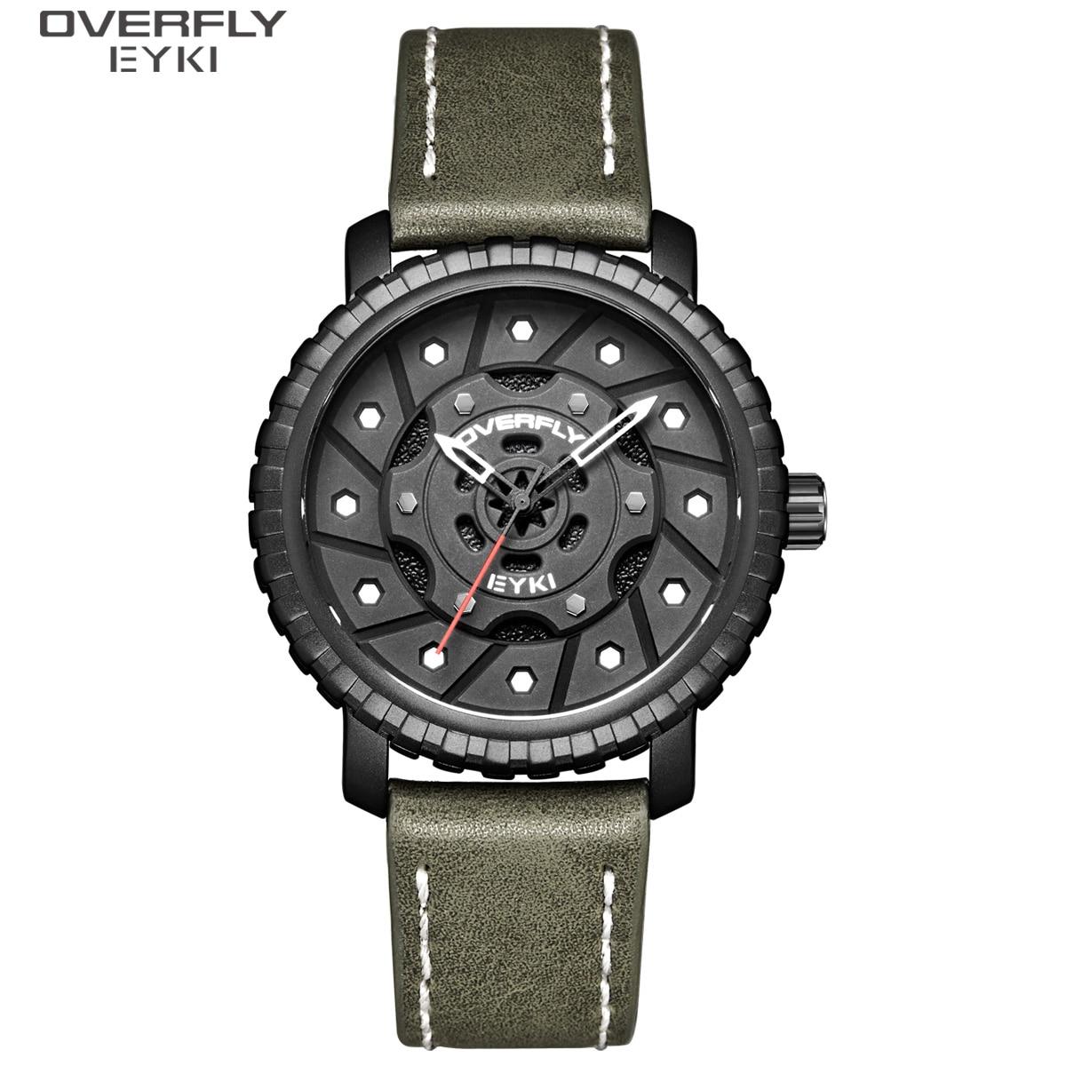 Relógios de Quartzo de Couro dos Homens Relógio de Pulso Eyki Pneus Criativos Dial Design Homem Relógio Masculino Moda Esporte Militar Montre Homme