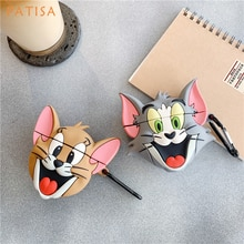 Funda para auriculares de silicona con dibujos animados Tom Cat y Jerry Mouse 3D para AirPods 1 funda protectora para auriculares Airpods 2 funda
