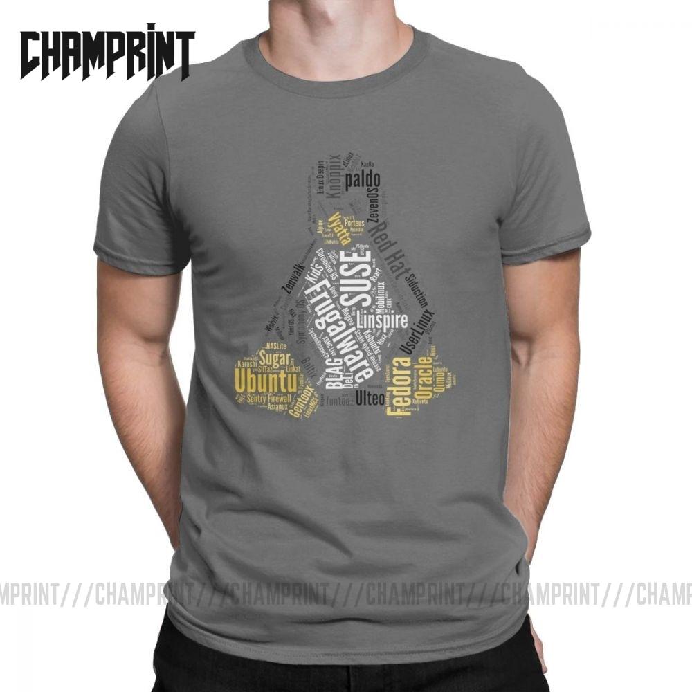 Novelty Tux Typo Linux Distro Distribution Ubuntu T-Shirts Men O Neck Cotton T Shirt Short Sleeve Tee Shirt Printing Clothes