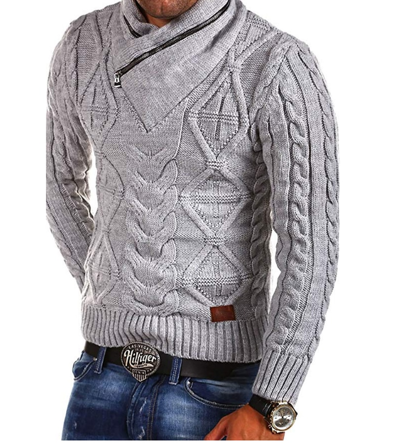 Winter Sweater Men's Knitted Sweater V-Neck Zipper Long-sleeved  Pullovers  Mens Casual Warm Sweater Plus Size S-3XL