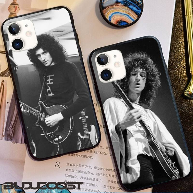 Black Queen Brian May Phone Case Black TPU For Iphone 12 Pro Max 11 Pro XS MAX 8 7 6 6S Plus X 5 5S SE 2020 XR Case