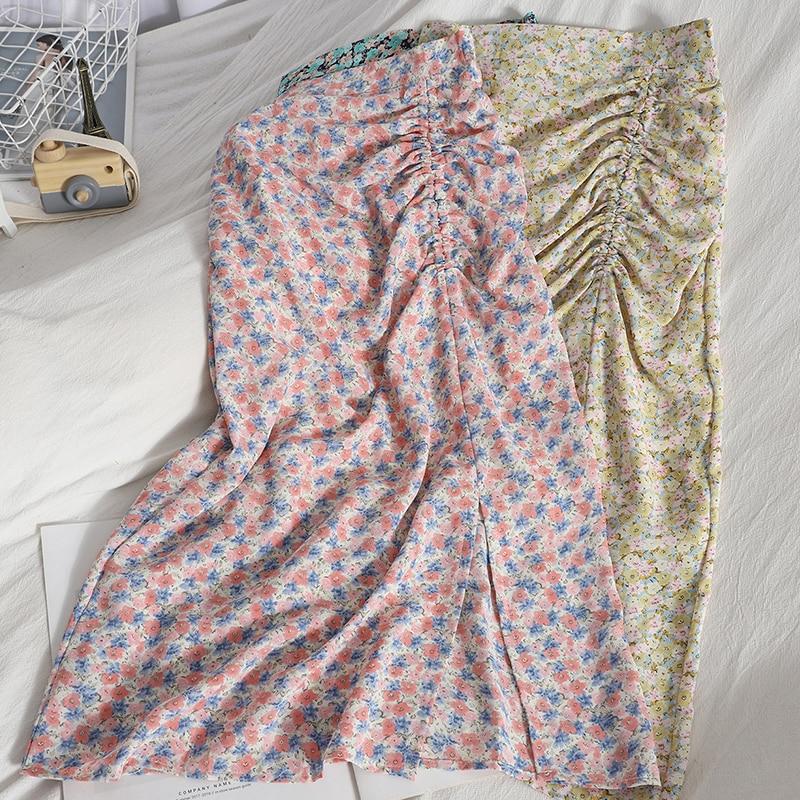 Summer Elegant Womens Pleated Chiffon Skirt 2021 Japanese Styl Split High-Waisted Floral Female