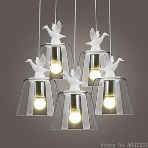 Post Modern Glass Pendant Lamp Nordic Creative Bird Chandelier Lights Resin Art Glass Lighting Modern Living Room Dining Room
