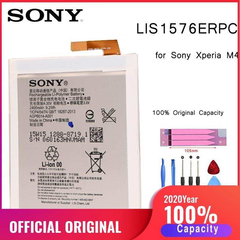 Batería Original de teléfono SONY para Sony Xperia M4 Aqua E2353 E2303 E2333 baterías de repuesto LIS1576ERPC batería con herramientas