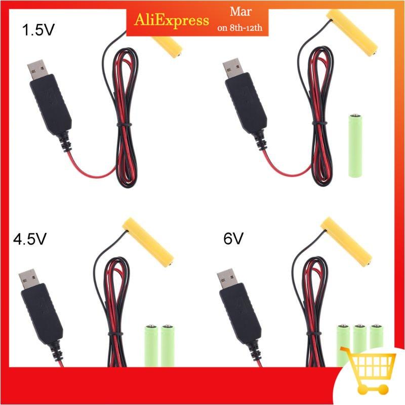 LR6 AA סוללה Eliminator 2m USB אספקת חשמל כבל להחליף 1 כדי 4pcs AA סוללה עבור רדיו חשמלי צעצוע שעון LED רצועת