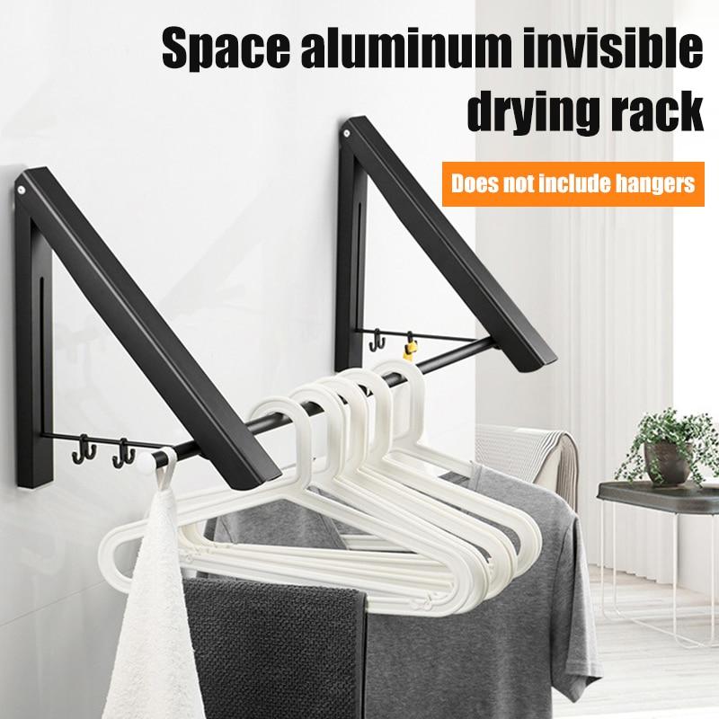 Multifuncional dobrável roupas cabide montado na parede roupas trilho de secagem rack de armazenamento de roupas toalheiro pendurado auto para cozinha