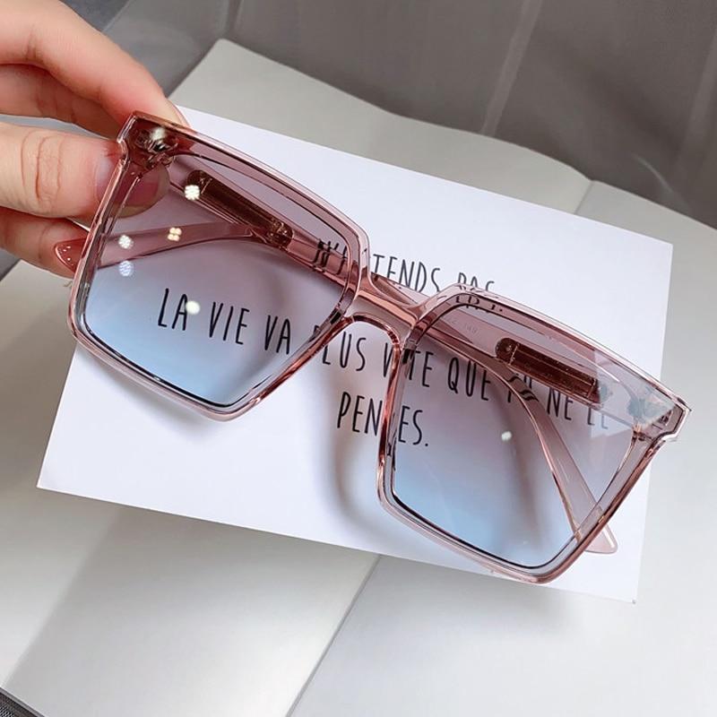 Солнцезащитные очки в винтажном стиле для мужчин и женщин, градиентные элегантные солнечные аксессуары в квадратной оправе, с линзами чайного и синего цвета Женские очки кадры      АлиЭкспресс