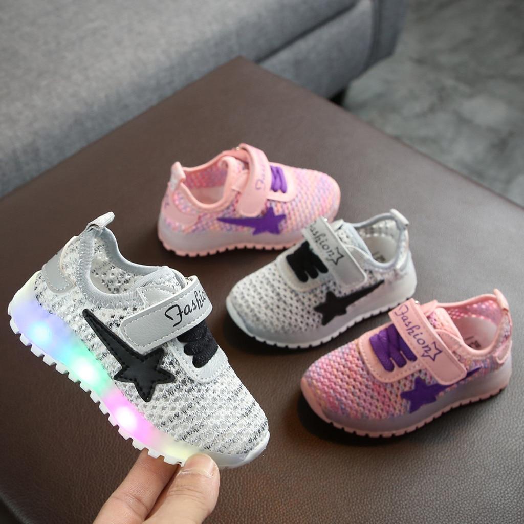 Niño Infantil bandera bebé niñas niños malla transpirable LED Zapatos de deporte luminosos zapatillas Sapato Infantil niños zapatos 2020 nuevo