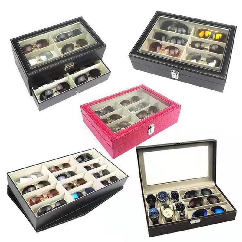 الراقية رائعة بو الجلود مشاهدة نظارات صندوق تخزين المجوهرات ساعة مجوهرات نظارات الغبار صندوق عرض صندوق مجوهرات الغبار