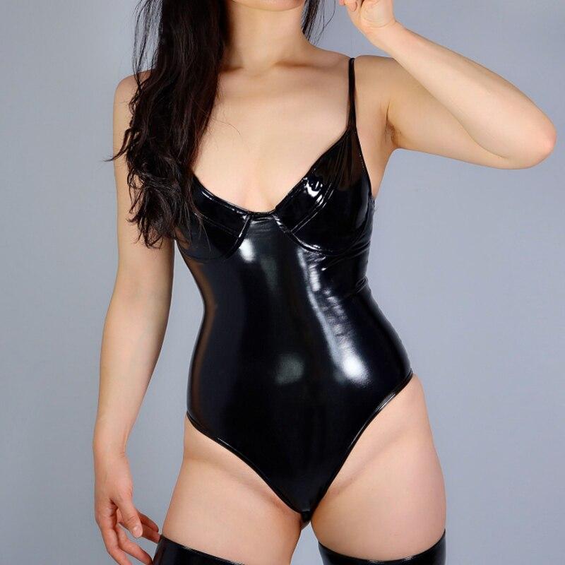 أزياء جديدة اللاتكس ارتداءها النساء underwire بوستير عالية مطاطا مشد الصدرية أعلى يغرق تألق جلد أسود VG15