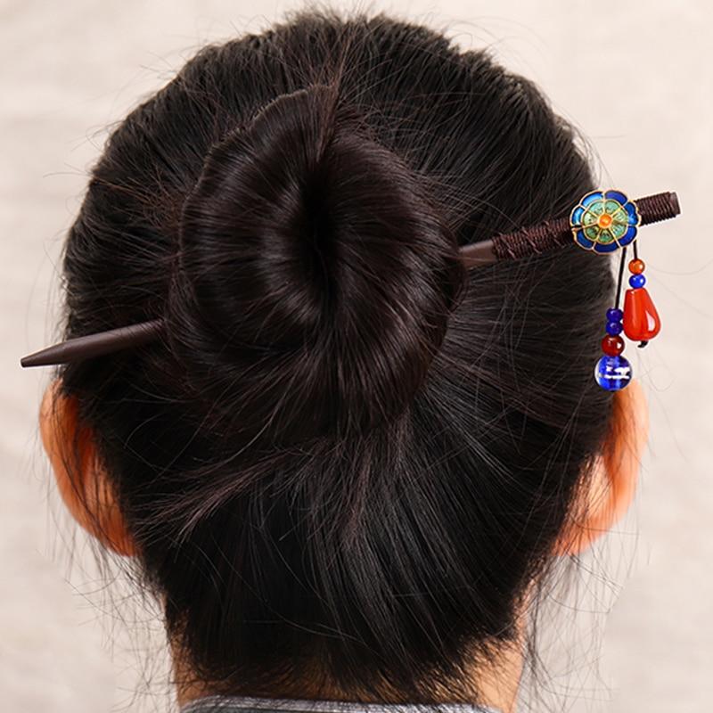 Chinese style wooden chopsticks hair handmade retro flower hairpin female ethnic headdress jewelry accessories
