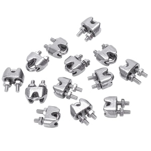 2mm 1/16 Inch Stainless Steel Wire Rope Cable Clamp Fastener 12pcs