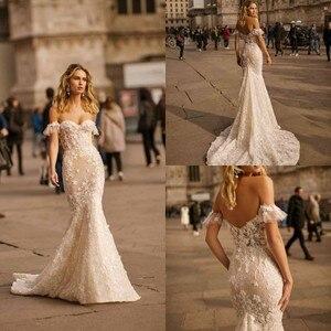 2020 Mermaid Wedding Dress Sweetheart Sweep Train 3D Floral Applique Lace Country Wedding Dress Custom Made Long Robe De Mariee
