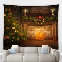 christmas hippie big tapestry retro fireplace pattern living dinning room patio decor wall hanging blankets yoga mats tablecloth