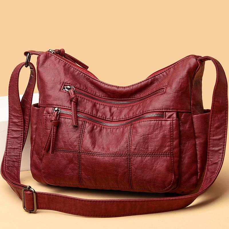 Soft Leather Crossbody Bags for Women 2021 New Luxury Purses and Handbags Women Bags Designer Shoulder Messenger Bag Sac A Main недорого