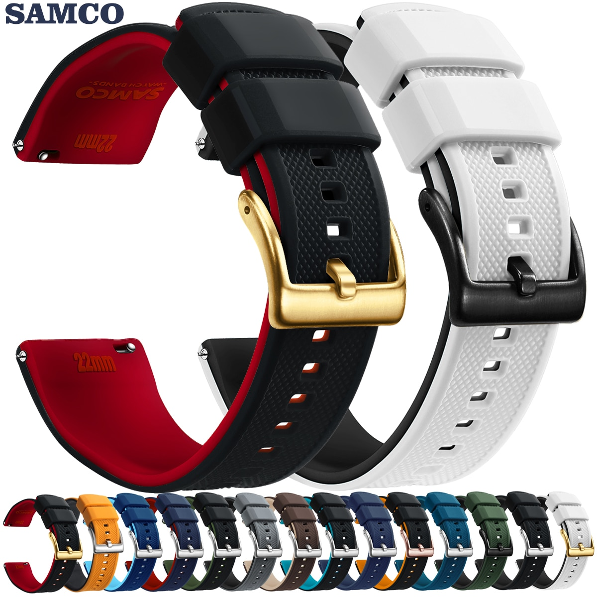 20mm coffee brown silicone jelly rubber unisex watch band straps wb1072s20jb Quick Release Rubber Watch Strap Silicone Watch Band 20mm 22mm  Huawei Samsung Garmin Watch Replacement Watchband