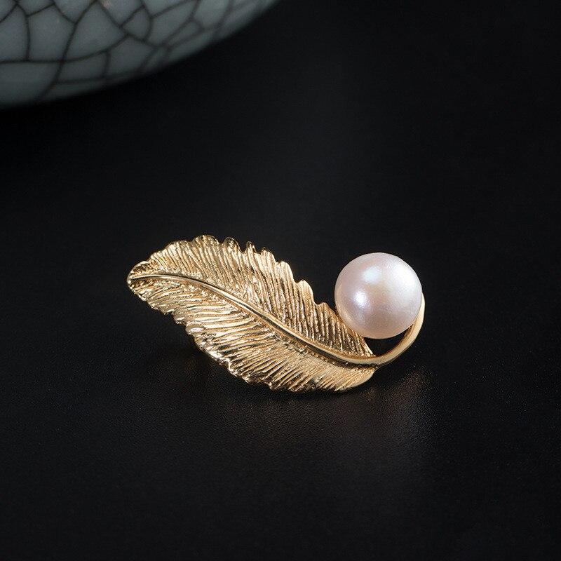 Banhado a ouro folha broche pérola 925 pinos de prata esterlina feminino negócios terno broches ol vestido completo noite oficial pino instagram