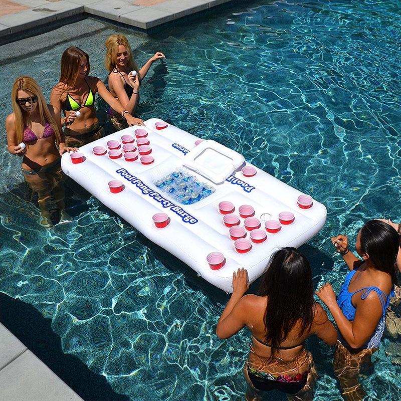 Beer Pong Pool Mat 28 Cup Hole Floating Row Inflatable Pool Mattress Water Table Tennis Entertainment Floating Pad For Party