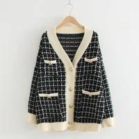 artguy women sweater jacket 2019 oversized knitted cardigans loose plaid jumpers korean clothing robe long coat sueter feminino