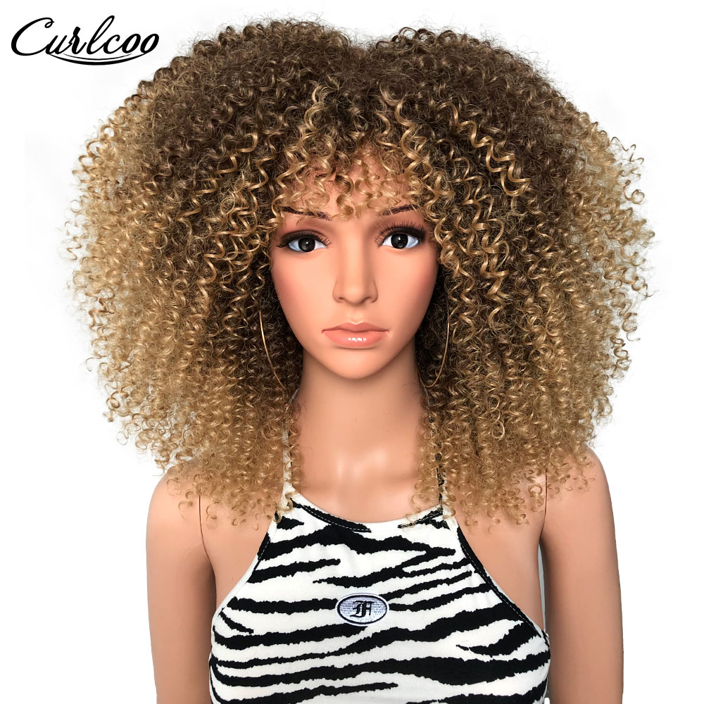 """Synthetic Ombre Black Glueless Cosplay Wigs 16"""" Afro Kinky Curly Wig With Bangs High Temperature For Black Women CurlCoo"""