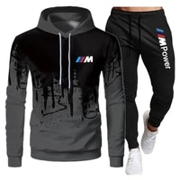 2021 new mens suit sportswear suit spring and autumn bmw m sweater hooded pullover mens sportswear casual suit 2 piece set