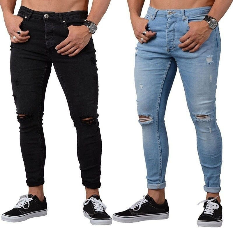 Men's Sweatpants Sexy Hole men Jeans Pants Casual Summer Autumn Male Ripped Skinny Trousers Slim Out
