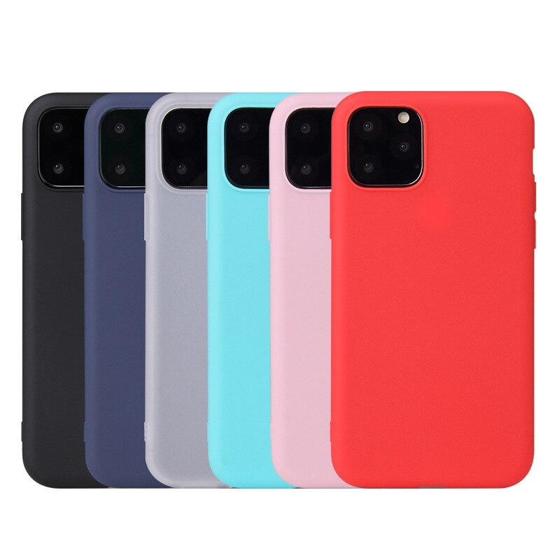 Funda de silicona TPU de goma para iPhone 11 Pro Max Candy Color suave TPU contraportada para Coque iPhone 5 5S 6 6S 78 X XS XR caso