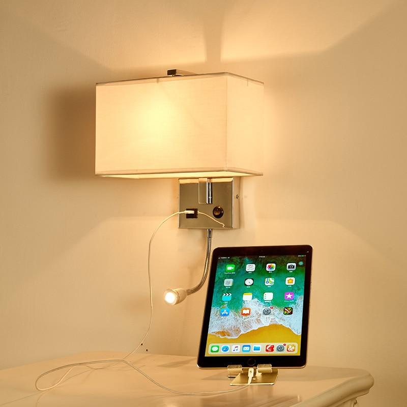 Nuevo estilo de lámpara de pared de estilo americano LED creativo Simple con cargador USB estilo europeo lámpara de cabecera con borde cruzado caliente las ventas de Manuf