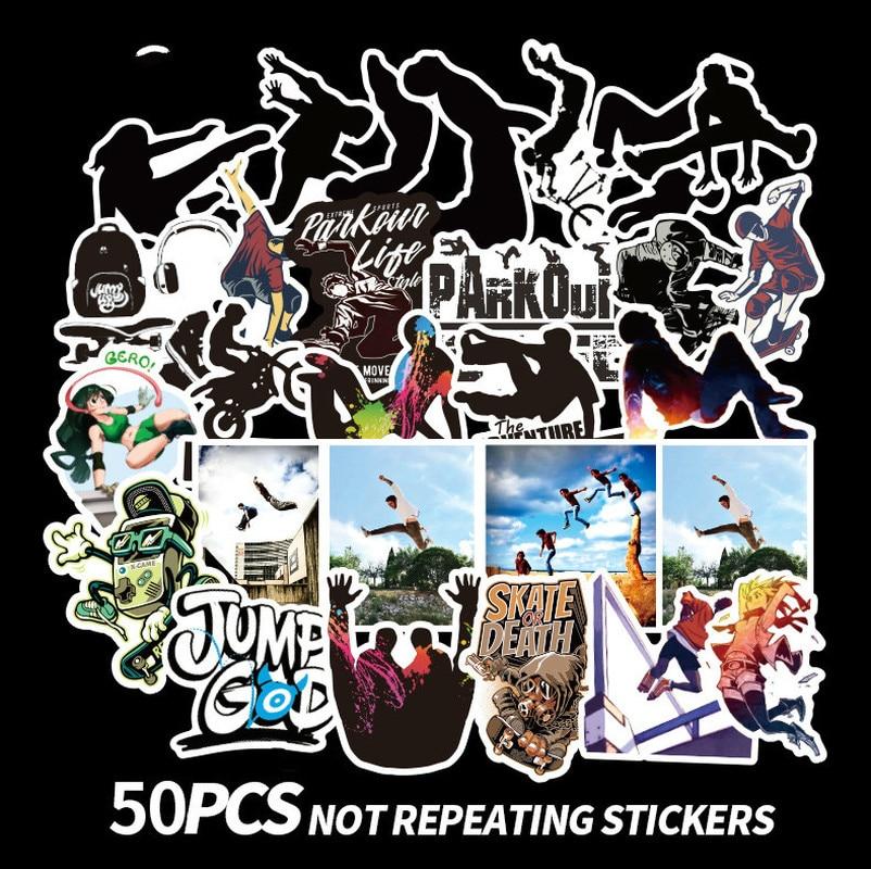50 piezas Parkour deporte pegatinas conjuntos de Anime de dibujos animados etiqueta engomada del ordenador portátil nevera teléfono guitarra pegatinas