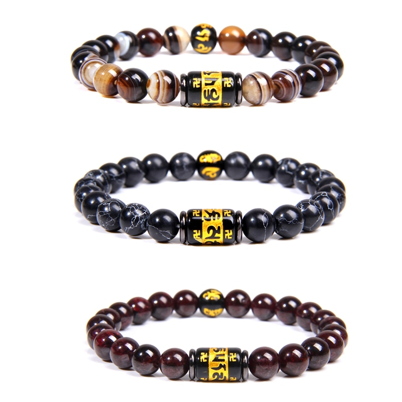 Pulseiras de amuleto para homem natural 8 mm botswana agat contas pulseira homme preto seis palavras charme pulseira jóias artesanal elástico