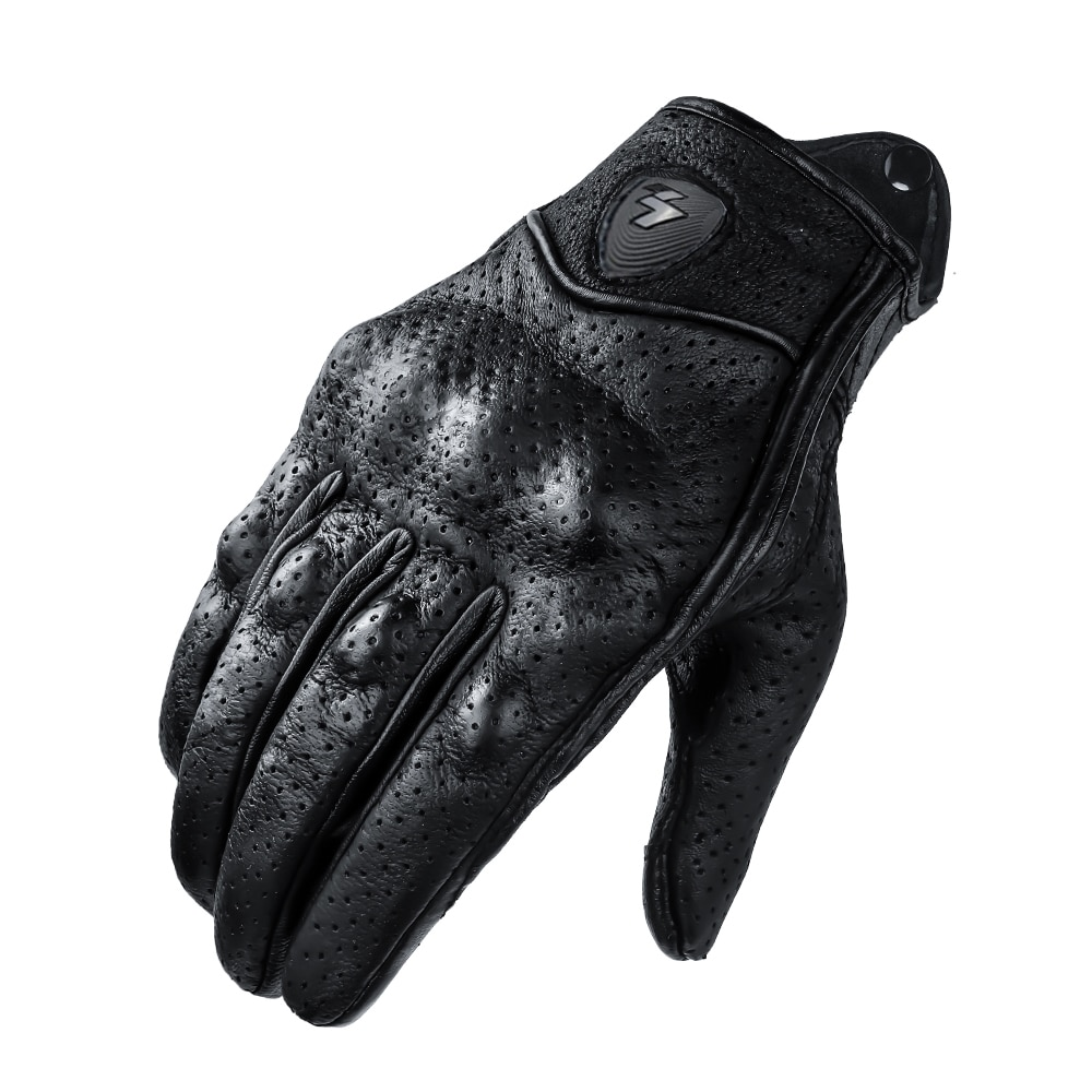 Retro Winter Warm Perforated Real Leather Windproof Women Men Motorcycle Gloves Moto Protective Gears Motocross
