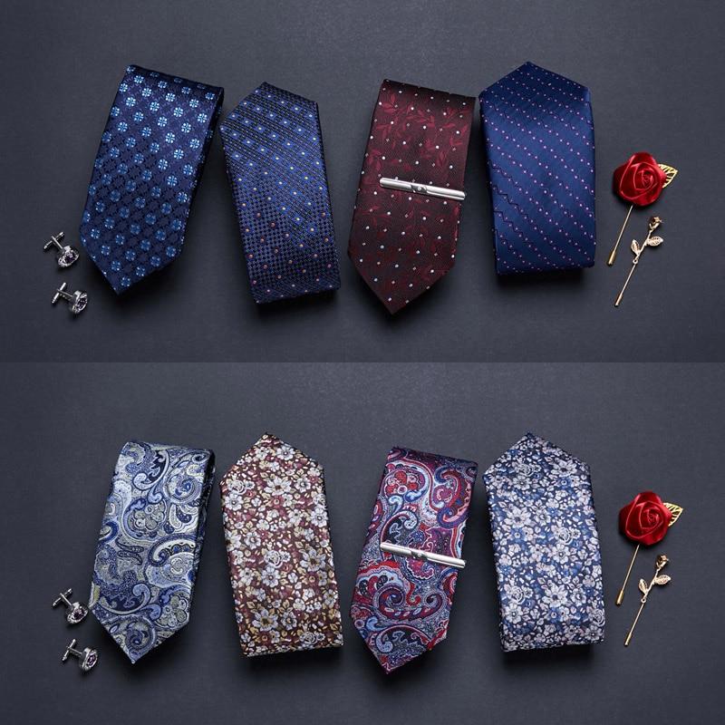 Галстуки мужские с принтом, тонкие галстуки длиной 7 см из полиэстера, жаккардовые Узкие галстуки для свадьбы