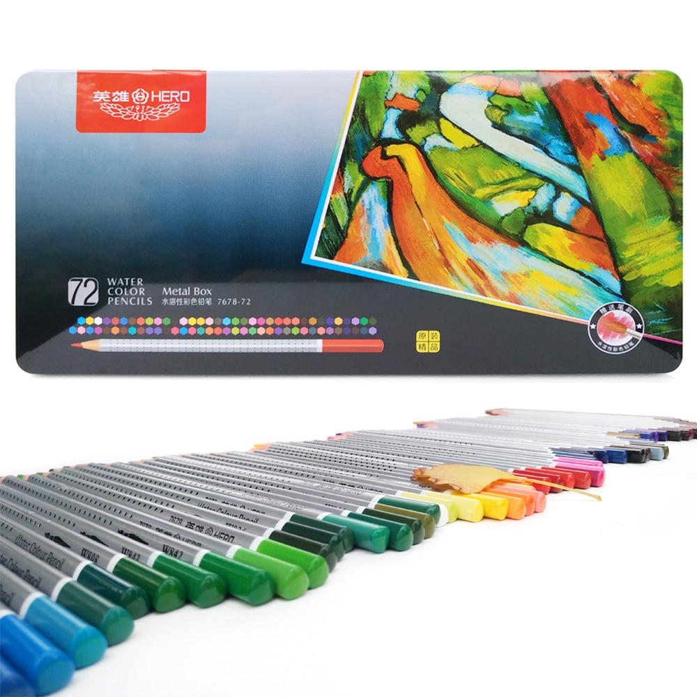 Juego de lápices de acuarela profesionales de 72 colores, lápices de colores para estudiantes, papelería escolar, lápices de colores